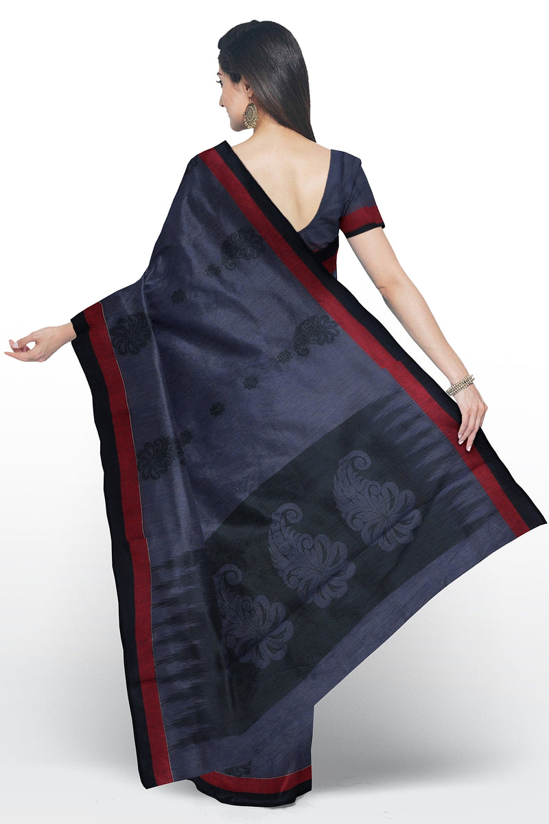 Semi Linen Cotton silk saree cyber grape with geometric thread buttas and simple border for Rs.Rs. 1460.00 | Cotton silk Sarees by Prashanti Sarees