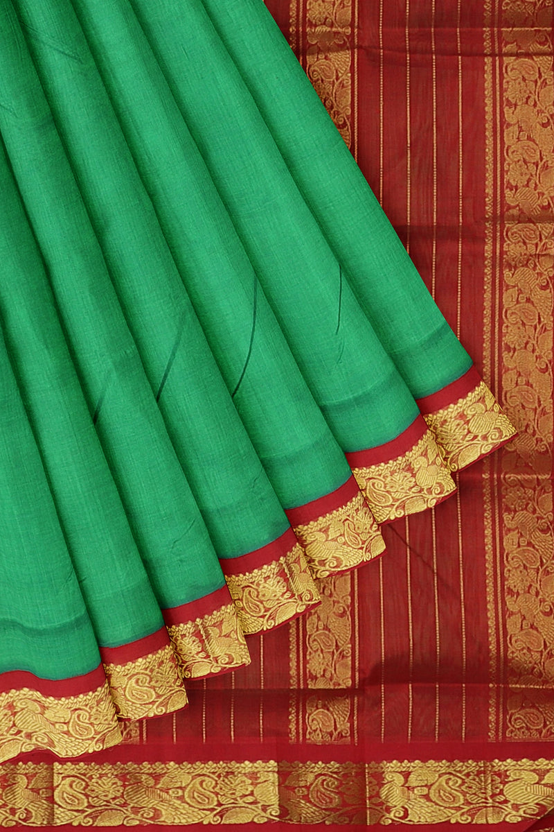 Silk cotton saree green and red with paisley peacock golden zari korvai border