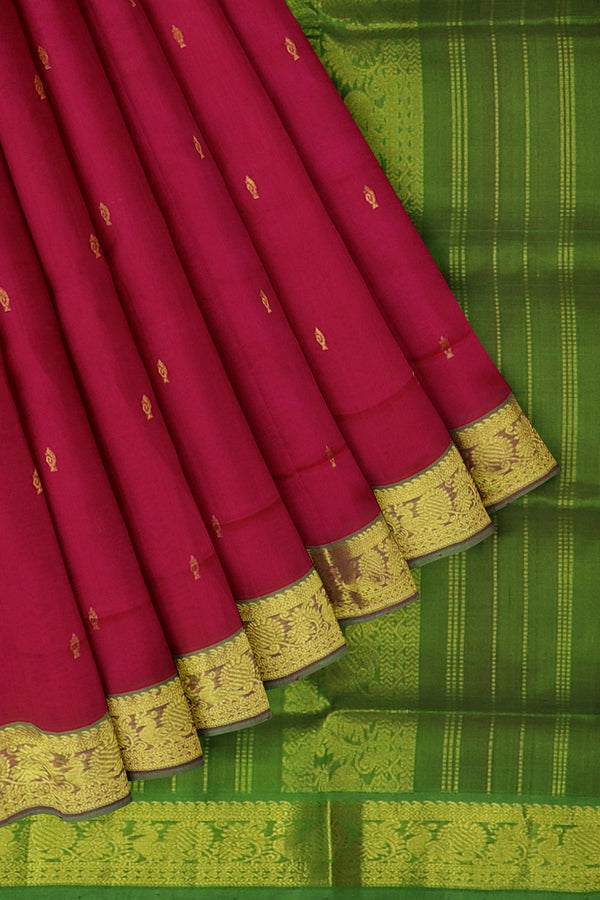 Silk Cotton Saree Pink and green with overall golden zari buttas and golden zari peacock border 10 yards