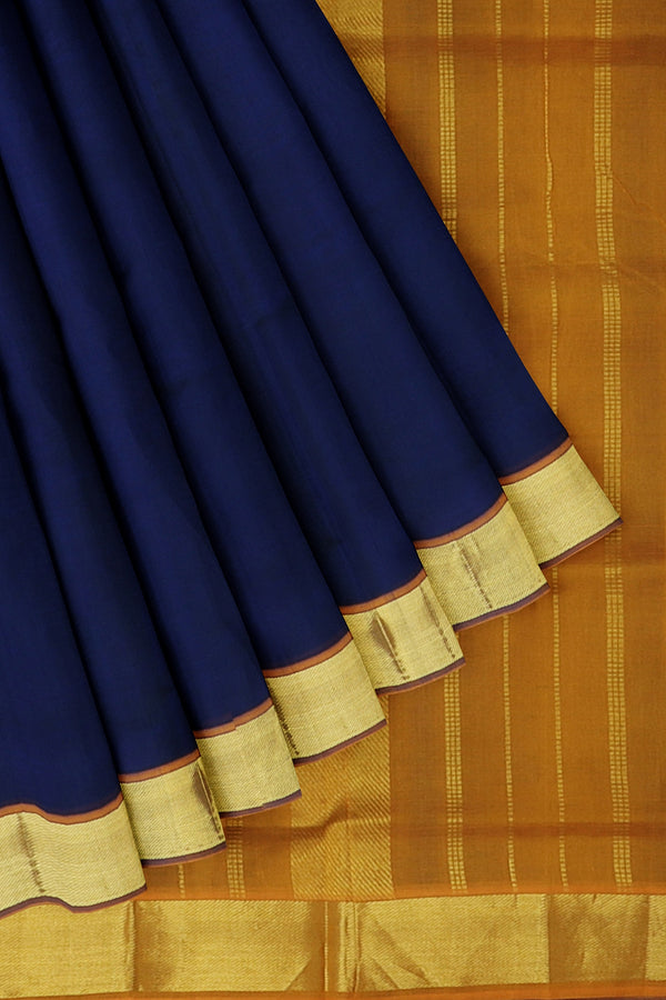 Silk Cotton Sarees Blue and Mustard yellow with golden zari Bavanji Border 10 Yards