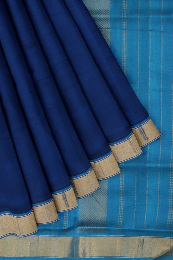 Silk Cotton Saree Blue with golden zari bavanji border 10 Yards