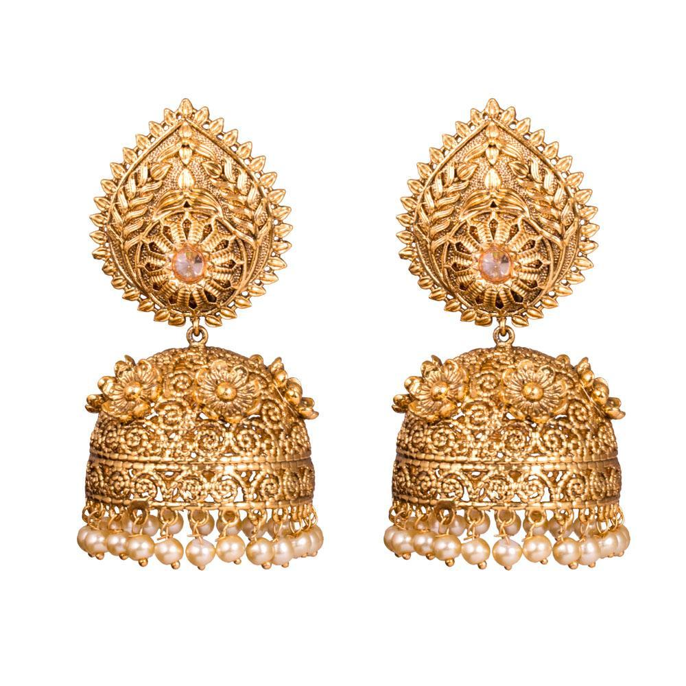 Gold plated traditional chunky jhumkas