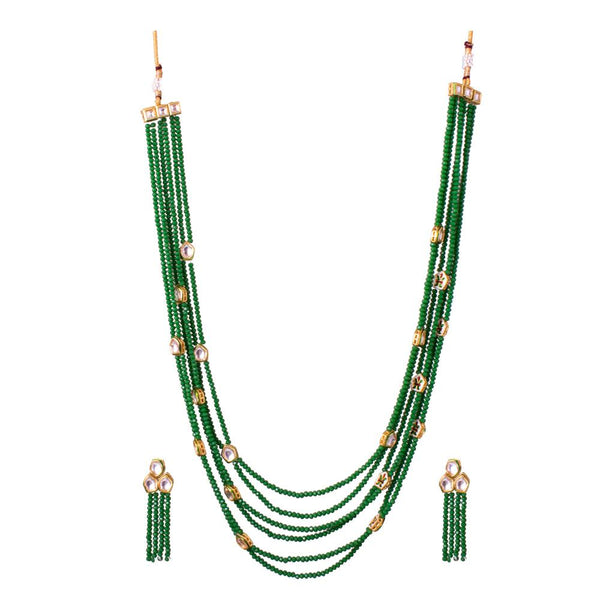 Green Beaded And Beauty Kundan Layered Set