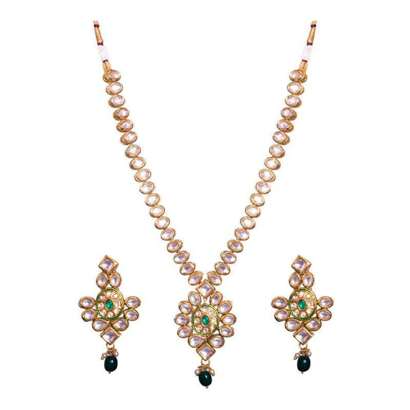 Kundan Stone Green bead Necklace