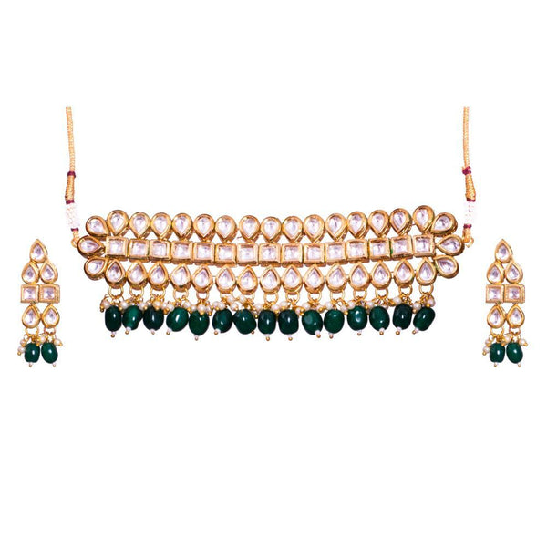 Geometric semi precious Kundan Stone Necklace
