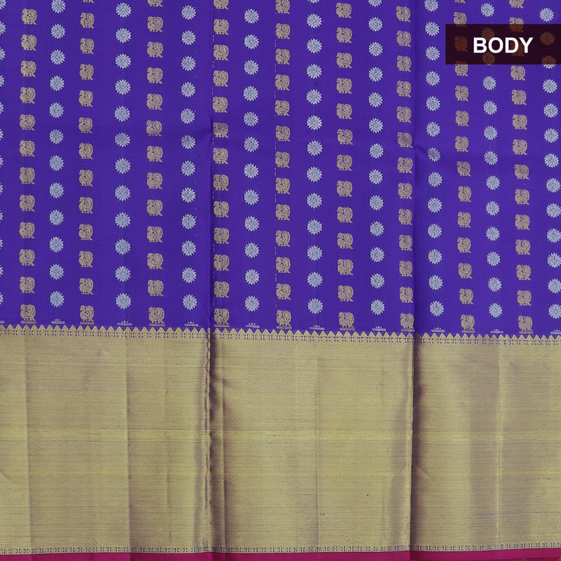 Pure silk pavadai material blue with all over gold and silver buttas for 6 to 10 years