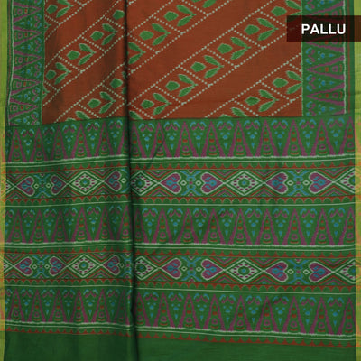 Art Silk Saree Brown and Green with Ikkat prints
