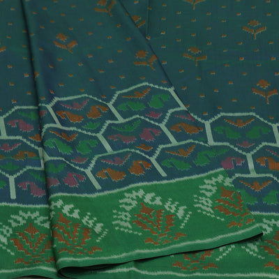 Art Silk Saree Blue and Green with Ikkat prints