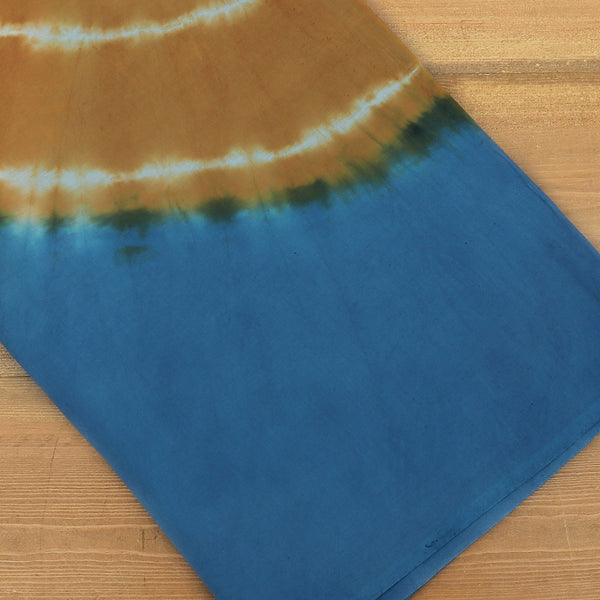 Semi Silk Batik Saree with Blue and Brown