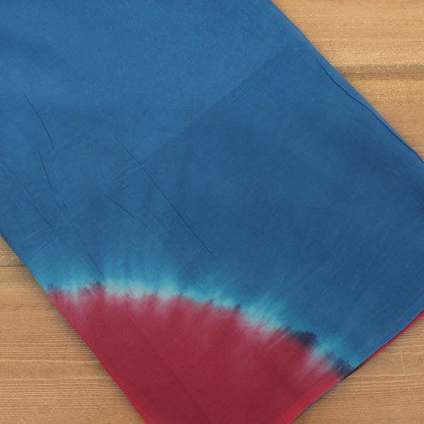 Semi Silk Batik Saree with Blue and Red