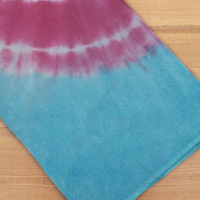 Semi Silk Batik Saree with Sky Blue and Pink