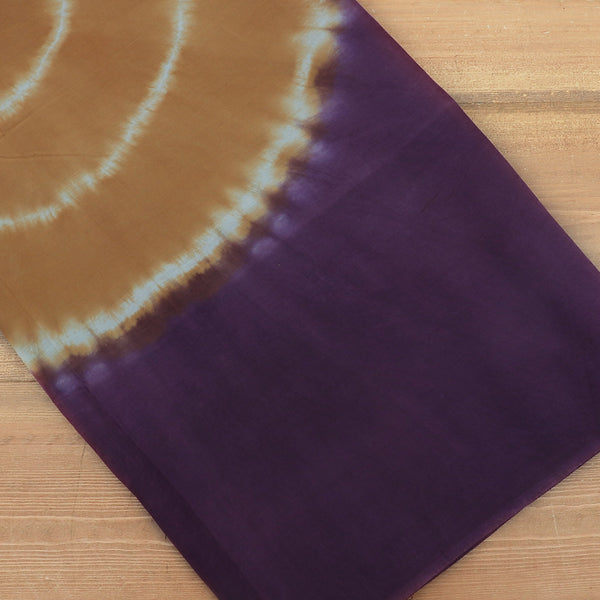 Semi Silk Batik Saree with Purple and Mustard