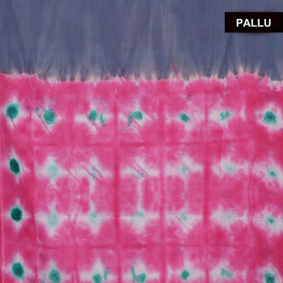 Semi Silk Batik Saree Grey and Pink