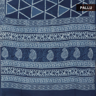 Semi Silk Saree Blue and Beige with Bagru print