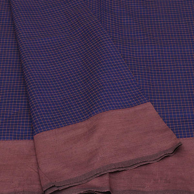 Blended Cotton Saree Blue and Brown with checks and simple border for Rs.Rs. 840.00 | by Prashanti Sarees