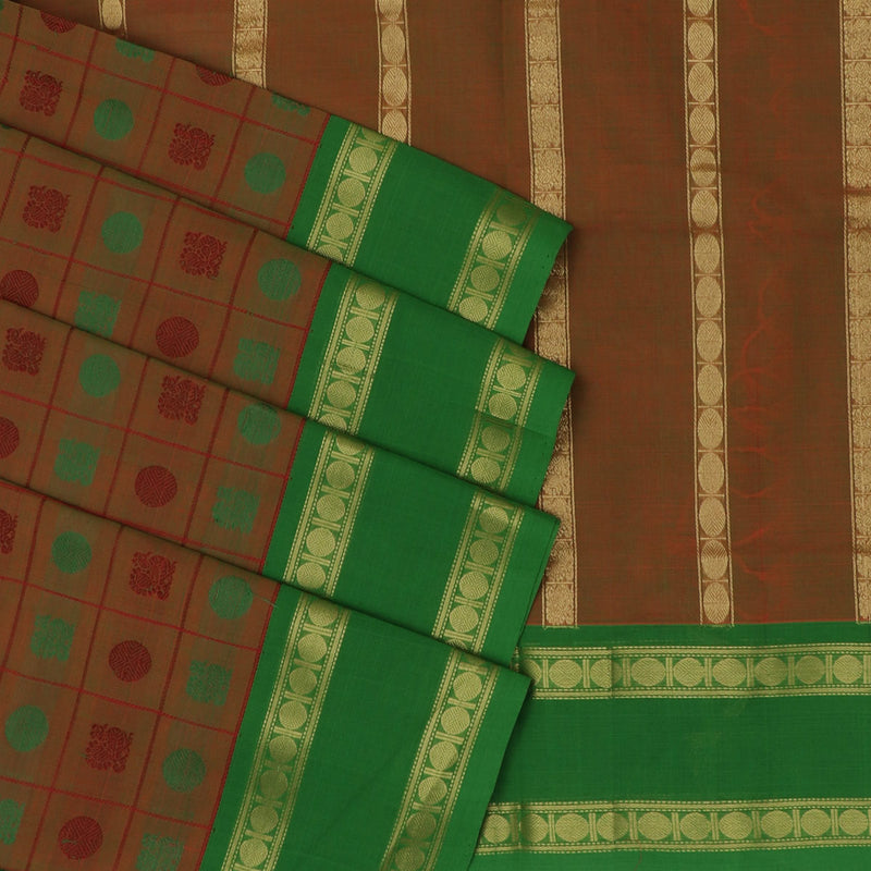 Handloom korvai with 1000 butta brown and Green with Coin zari border