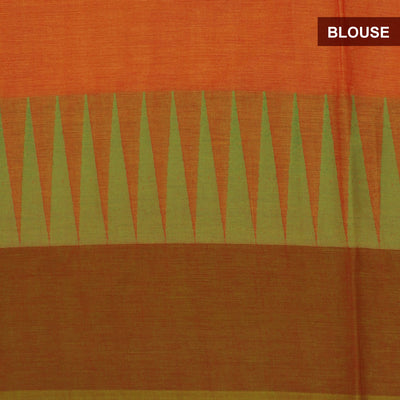 Chettinad Cotton Saree Light Orange and Green with Temple border