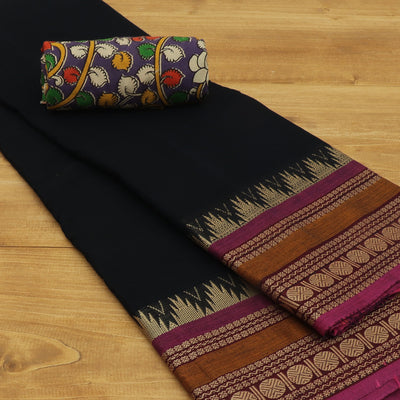 Chettinad Cotton Saree Black and purple with Rudhraksha border and Kalamkari Blouse
