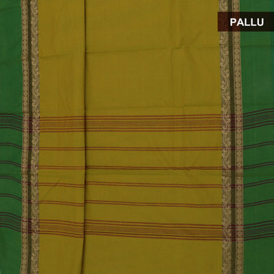 Chettinad Cotton Saree Green shade with Yellow Shade and Green with Rudhraksha border and Kalamkari Blouse
