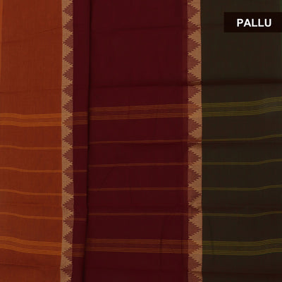 Chettinad Cotton Saree Maroon and Brick Orange with Temple border and Kalamkari Blouse