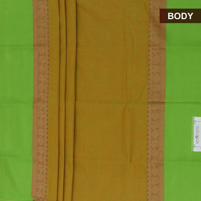 Chettinad Cotton Saree Mustard and Parrot Green with Annam border and Kalamkari Blouse