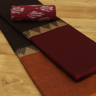 Chettinad Cotton Saree Dark Green Black and Maroon with Temple border and Ikkat Blouse