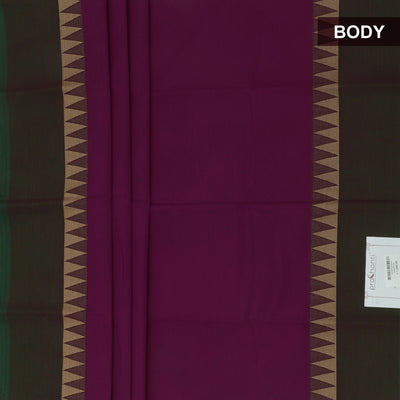 Chettinad Cotton Saree Purple and Green with Temple border and Kalamkari Blouse
