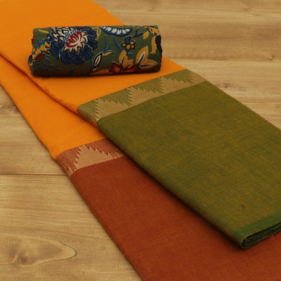 Chettinad Cotton Saree Yellow and Green with Temple border and Kalamkari Blouse