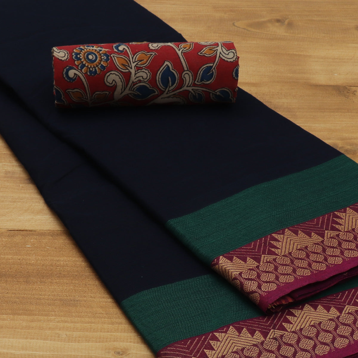 Chettinad Cotton Saree Dark Blue and Pink with Temple Thread border and Kalamkari Blouse