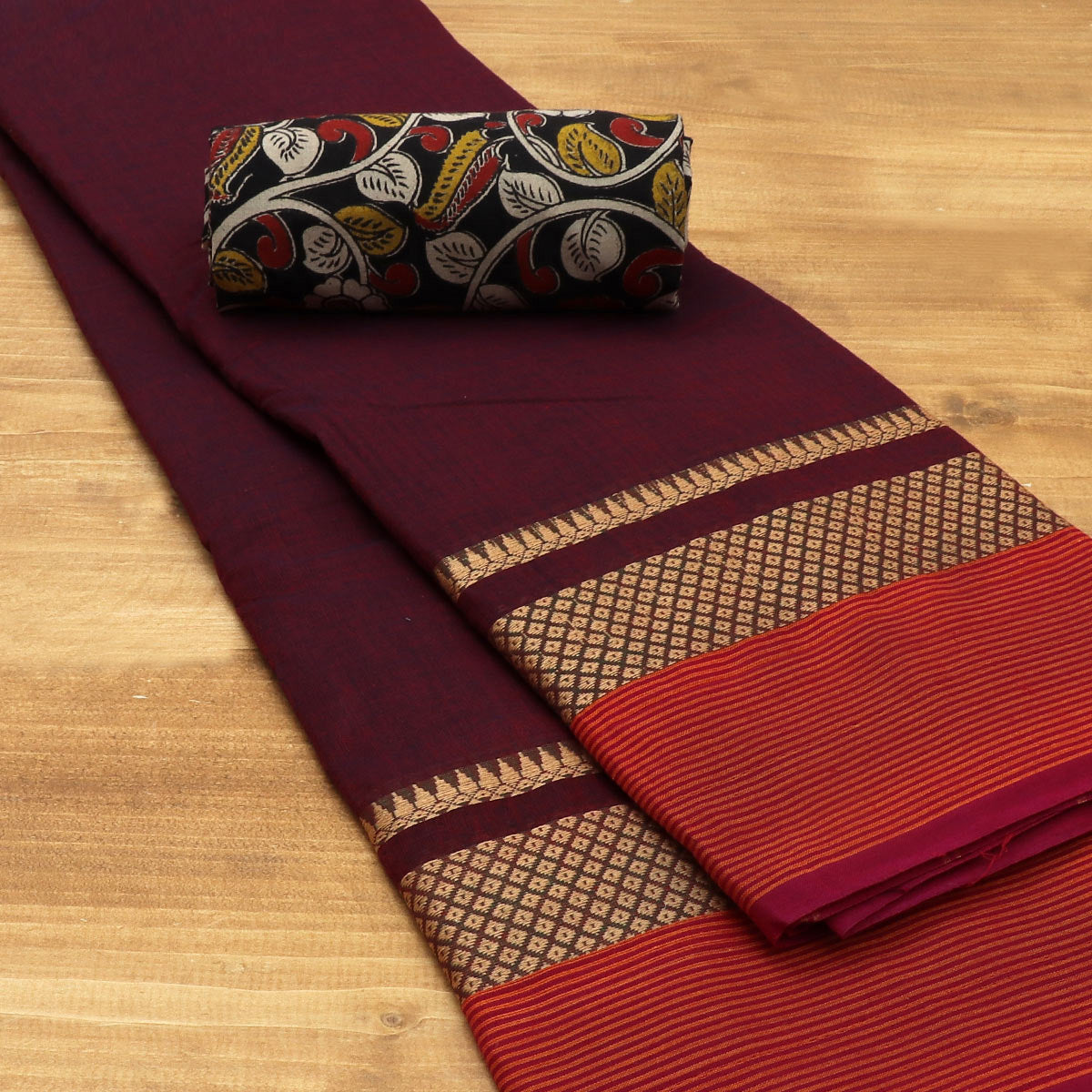Chettinad Cotton Saree Mixed Maroon with blue and Brick Orange with Temple border and Kalamkari Blouse