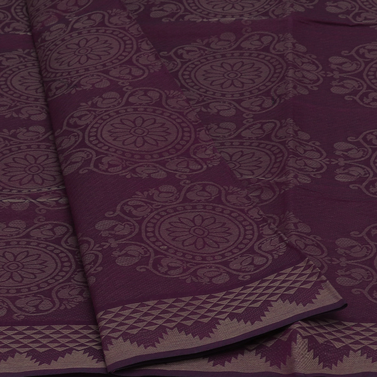 Coimbatore Cotton Saree Onion Pink and Violet Dual shade with Temple border