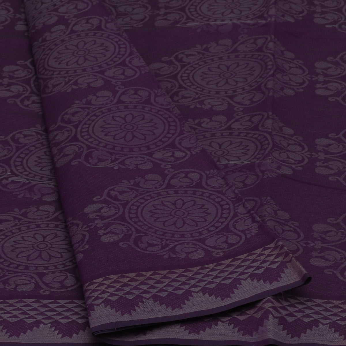 Coimbatore Cotton Saree Violet with Temple border