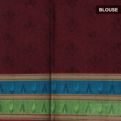 Coimbatore Cotton Saree  Maroon with Mango border
