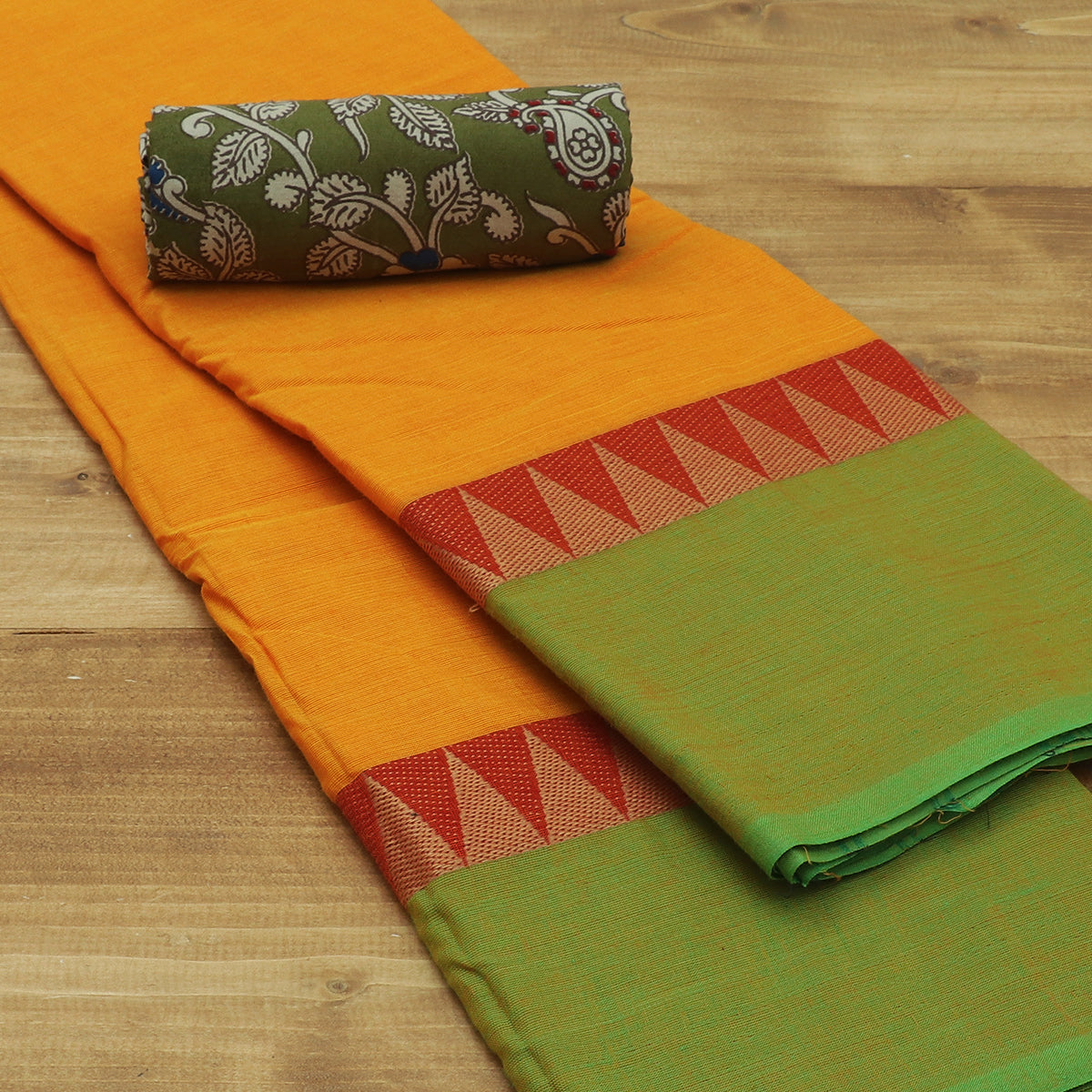 Chettinad Cotton Saree Yellow and Green with Temple border