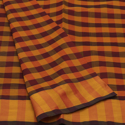 Blended Cotton Saree Mustard and Maroon with body checks and simple zari border