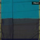 Crepe Saree Teal Blue and dark blue with Mango zari border