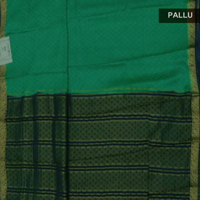Crepe Saree Green and Dark Blue with Floral zari border