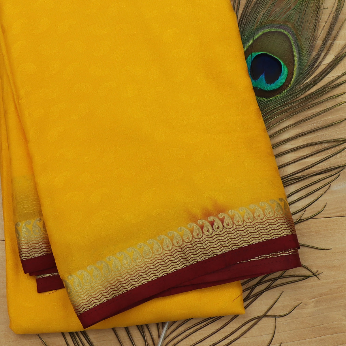 Crepe Saree Yellow and Maroon with Wave and Mango zari border