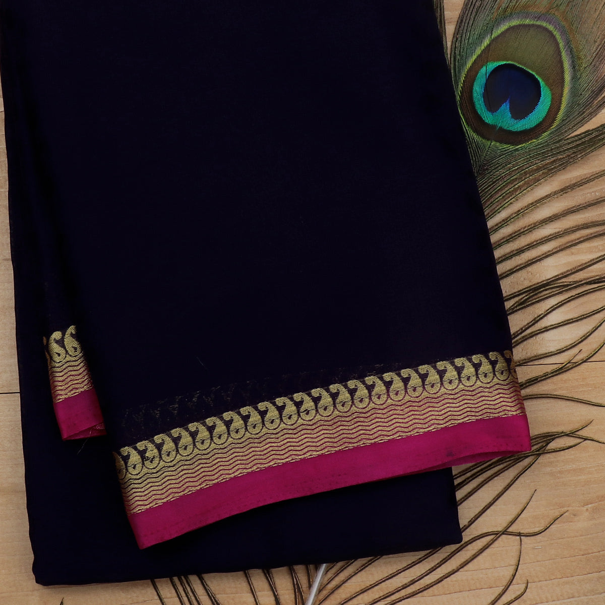 Crepe Saree Dark Blue and Pink with Wave and Mango zari border