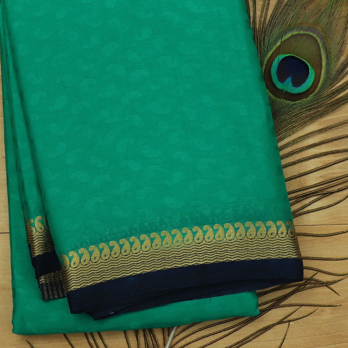 Crepe Saree Green and Dark Blue with Wave and Mango zari border