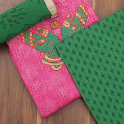 Dress Material Pink and Green with traditional design and chiffon dupatta