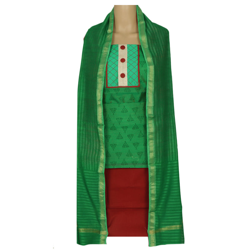 Dress Material - Green and Maroon with dupatta