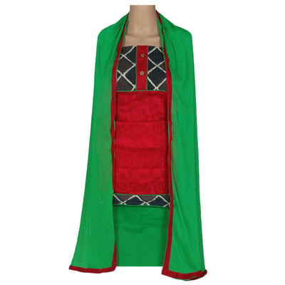 Dress Material - Red and Green with chiffon dupatta