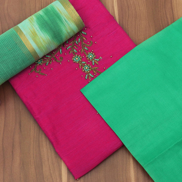 Dress Material - Raw Silk Pink and Green with hand work