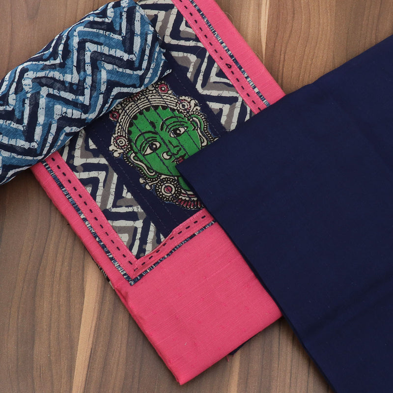 Dress Material - Pink and Dark blue with patch work and chiffon dupatta for Rs.Rs. 1320.00 | Unstitched by Prashanti Sarees