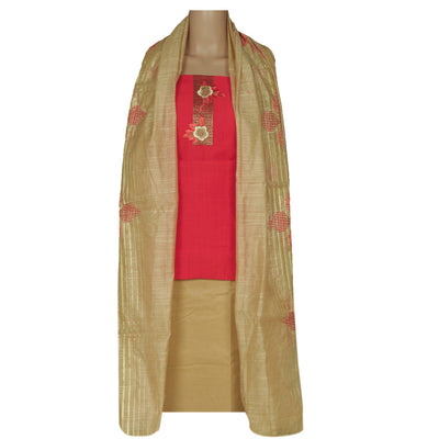 Dress Material - Orange and Beige with Flower embroidery and dupatta