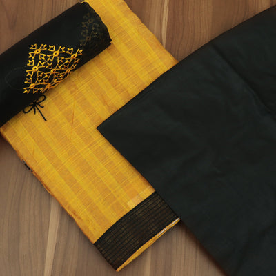 Dress Material - Yellow and Black with embroidery and dupatta