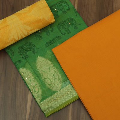 Dress Material - Green and yellow with elephant design and banarasi dupatta