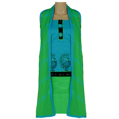 Dress Material - Blue and Green with peacock design and chiffon dupatta