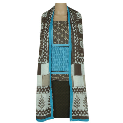 Dress Material - Sky Blue and Grey with chiffon dupatta